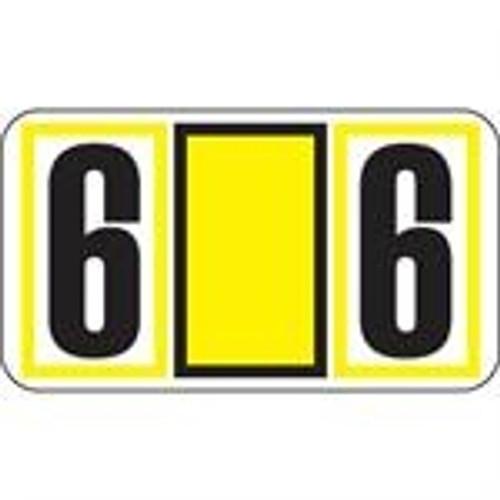 JETER Numeric Label - 7700 Series (Rolls) - 6 - Yellow