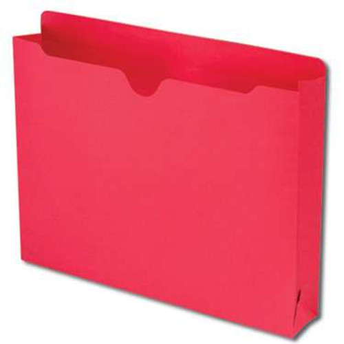 """Smead File Jacket, Reinforced Straight-Cut Tab, 2"""" Expansion, Letter Size, Red, 50 per Box (75569) - 4 Boxes"""