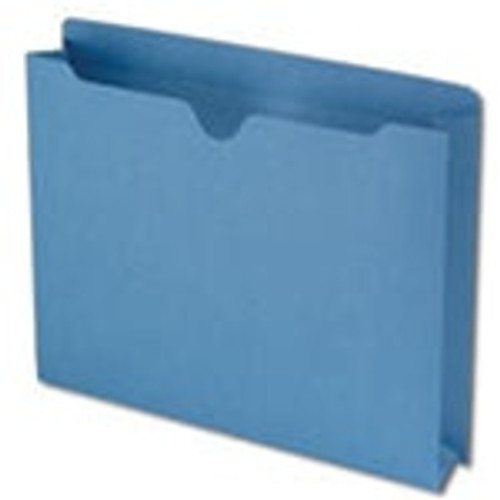 """Smead File Jacket, Reinforced Straight-Cut Tab, 2"""" Expansion, Letter Size, Blue, 50 per Box (75562) - 4 Boxes"""
