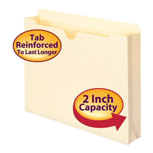"""Smead File Jacket, Reinforced Straight-Cut Tab, 2"""" Accordion Expansion, Letter Size, Manila, 50 per Box (75560)"""