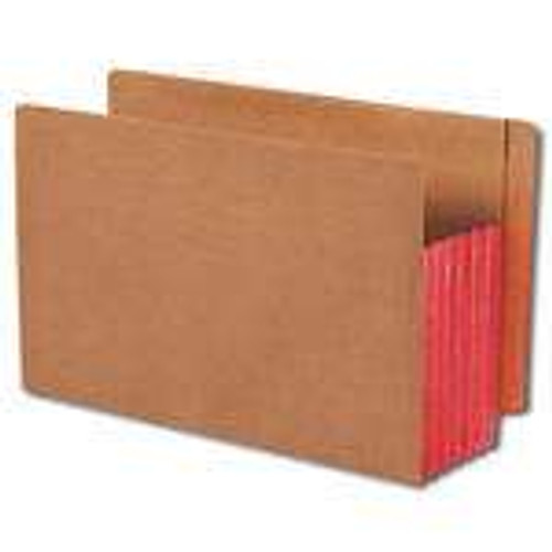 """Smead End Tab folder, Reinforced Straight-Cut Tab, 5-1/4"""" Accordion Expansion, Extra Wide Legal Size, Redrope with Red Gusset, 10 per Box (74696)"""