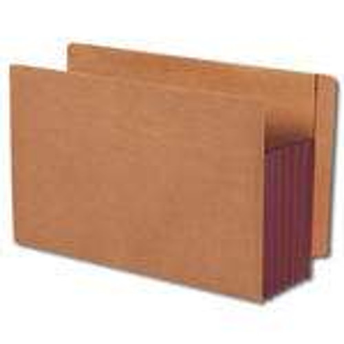 Smead End Tab Pocket, Reinforced Straight-Cut Tab, Extra Wide Legal Size, Redrope with Dark Brown Gusset - 10/Box - (74691)