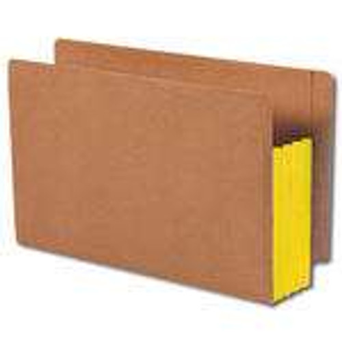 """Smead End Tab folder, Reinforced Straight-Cut Tab, 3-1/2"""" Accordion Expansion, Extra Wide Legal Size, Redrope with Yellow Gusset, 10 per Box (74688)"""