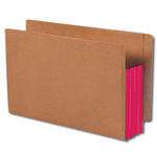 """Smead End Tab folder, Reinforced Straight-Cut Tab, 3-1/2"""" Accordion Expansion, Extra Wide Legal Size, Redrope with Red Gusset, 10 per Box (74686)"""