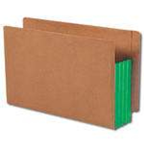 """Smead End Tab folder, Reinforced Straight-Cut Tab, 3-1/2"""" Accordion Expansion, Extra Wide Legal Size, Redrope with Green Gusset, 10 per Box (74680)"""