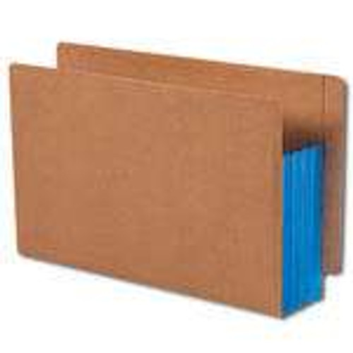 """Smead End Tab folder, Reinforced Straight-Cut Tab, 3-1/2"""" Accordion Expansion, Extra Wide Legal Size, Redrope with Blue Gusset, 10 per Box (74679)"""