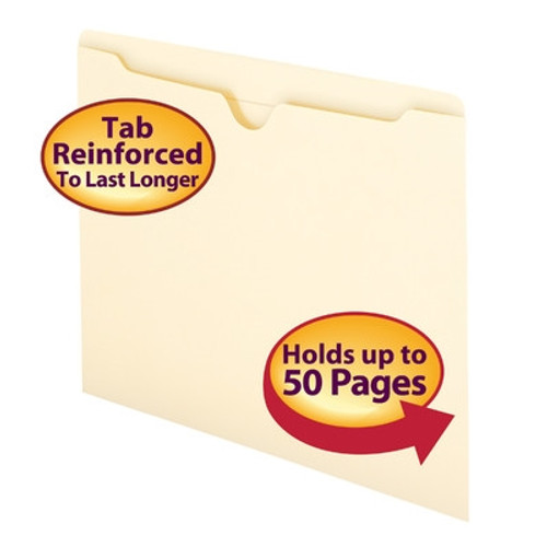Smead File Jacket, Reinforced Straight-Cut Tab, Flat-No Expansion, Letter Size, Manila, 500/Carton -  (75500) - 5 Cartons