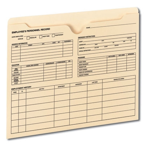 Smead Employee Record File Jacket, Reinforced Straight-Cut Tab, Flat-No Expansion, Letter Size, Manila, 20 per Pack (77100 ) - 5 Packs