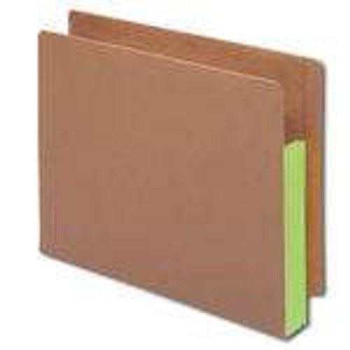 """Smead End Tab folder, Reinforced Straight-Cut Tab, 3-1/2"""" Accordion Expansion, Extra Wide Letter Size, Redrope with Green Gusset, 10 per Box (73680)"""