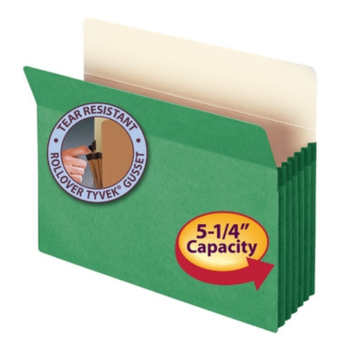"Smead File Pocket, Straight-Cut Tab, 5-1/4"" Expansion, Letter Size, Green, 10 per Box (73236)"
