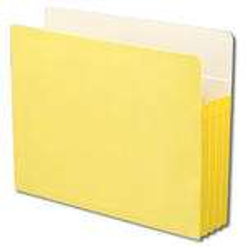 "Smead File Pocket, Straight-Cut Tab, 3-1/2"" Expansion, Letter Size, Yellow, 25 per Box (73233)"