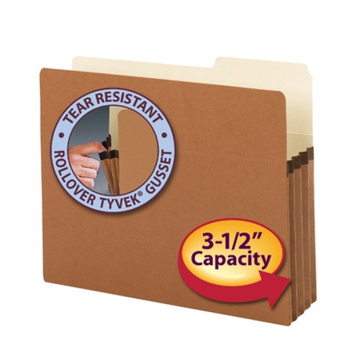 "Smead File Pockets, 2/5-Cut Tab Right Position, Guide Height, 3-1/2"" Expansion, Letter Size, Redrope, 25 per Box (73088)"