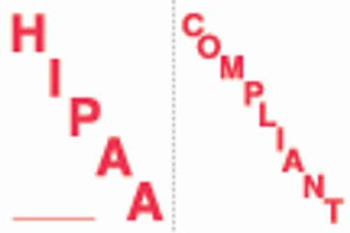 """HIPAA Compliant"" Label - White/Red - 1-1/2"" x 1"" - 250/Box"