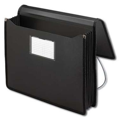 "Smead Poly Premium Wallet, 5-1/4"" Expansion, Letter Size, Black (71500) - Total of 12"
