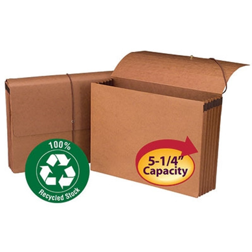 """Smead 100% Recycled Wallet, 5-1/4"""" Expansion, Flap and Cord Closure, Legal Size, Redrope, 10 per Box (71199)"""