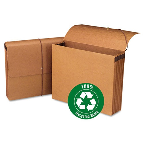 """Smead 100% Recycled Wallet, 5-1/4"""" Expansion, Flap and Cord Closure, Letter Size, Redrope, 10 per Box (71198) - 5 Boxes"""