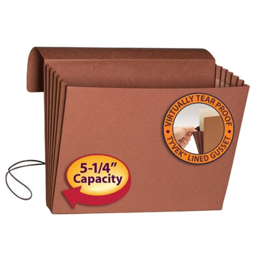 """Smead Expanding Wallet, 5-1/4"""" Expansion, Flap and Cord Closure, Extra Wide Legal Size, Redrope, 10 per Box (71189)"""