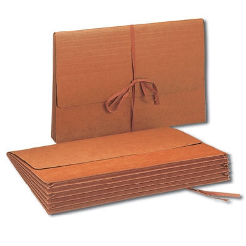 """Smead Wallet, 5-1/4"""" Expansion, Flap with Cloth Tie Closure, Legal Size, Redrope, 10 per Box (71075)"""