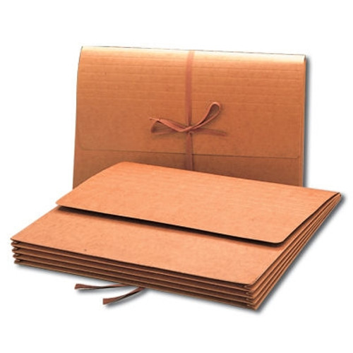 """Smead Wallet, 3-1/2"""" Expansion, Flap with Cloth Tie Closure, Legal Size, Redrope, 10 per Box (71055)"""