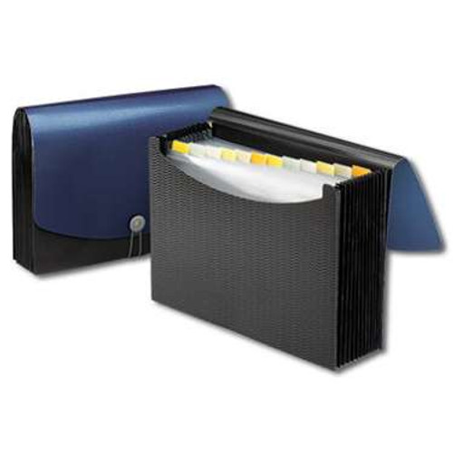 Smead Poly Expanding File, 12 Pockets, Flap and Cord Closure, Letter Size, Blue/Black ( 70863) - Total of 12