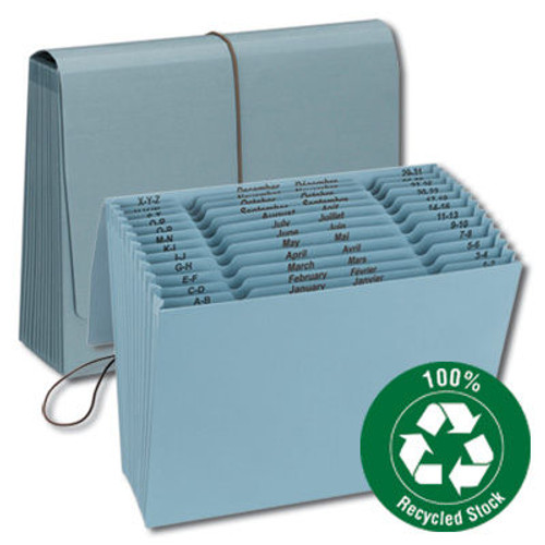 Smead 70779  100% Recycled Expanding File, Multi-Indexed, 12 Pockets, Blue (70779) - Total of 6