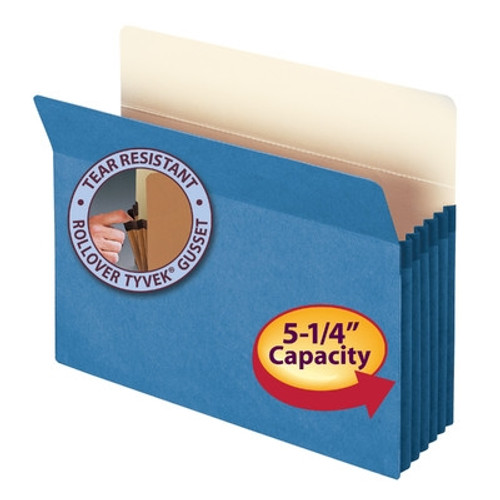 "Smead File Pocket, Straight-Cut Tab, 5-1/4"" Expansion, Letter Size, Blue, 10 per Box (73235)"