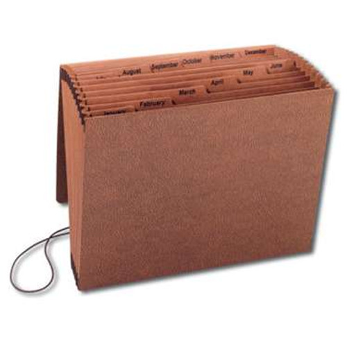 Smead TUFF Expanding File, Monthly (Jan.-Dec.), 12 Pockets, Flap and Elastic Cord Closure, Letter Size, Redrope-Printed Stock (70388) - Total of 5