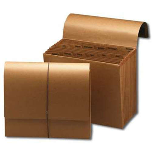 Smead Expanding File, Monthly (Jan.-Dec.), 12 Pockets, Flap and Cord Closure, Letter Size, Kraft (70186) - Total of 5