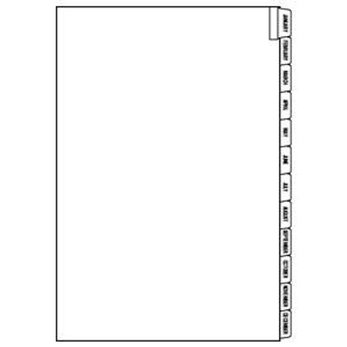 "Month Indexing Divider Sheets Jan-Dec - White - 8-1/2""W x 11"" H - 2 Sets Per Pack"
