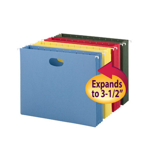 """Smead 64290  Hanging Pocket, 3-1/2"""" Expansion, Letter Size, Assorted Colors, Carton of 48"""