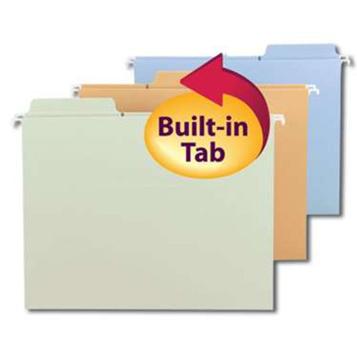 Smead FasTab Hanging File Folder, 1/3-Cut Built-In Tab, Letter Size,  Assorted Colors, 18 per Box (64054) - 10 Boxes