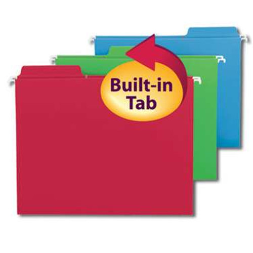 Smead FasTab Hanging File Folder,  1/3-Cut Built-In Tab, Letter Size, Assorted Colors, 18 per Box (64053) - 10 Boxes