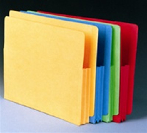 "Colored Accordion Expansion Pockets with Fiber Side Gusset - Legal Size - 3-1/2"" Accordion Expansion -  Offered in 5 colors - 100/Box"