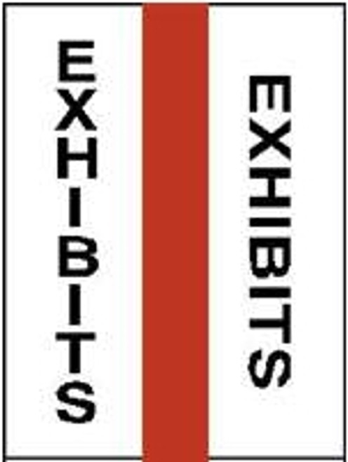 "1"" Legal Exhibit Tabs, ""Exhibits"", Red, 5 Pk/Box, 50 Tabs/Pkg"