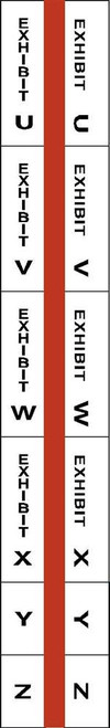 "Exhibit Index Tabs - U through Z - 1"" Tabs - Legal Exhibit Tabs - Red -  250/Tabs"
