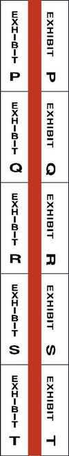 "Exhibit Index Tabs - P through T - 1"" Tabs - Legal Exhibit Tabs - Red -  250/Tabs"