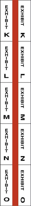 "Exhibit Index Tabs - K through O - 1"" Tabs - Legal Exhibit Tabs - Red -  250/Tabs"