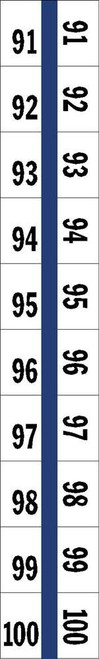 "Numerical Legal Exhibit Index Tabs 1/2"" TABS #91-100 5PK/BX BLUE - 100TABS/PKG"