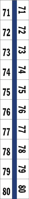 "Numerical Legal Exhibit Index Tabs 1/2"" TABS #71-80 5PK/BX BLUE - 100TABS/PKG"