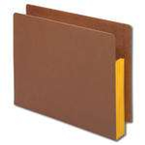 """Smead End Tab folder, Reinforced Straight-Cut Tab, 3-1/2"""" Accordion Expansion, Extra Wide Letter Size, Redrope with Yellow Gusset, 10 per Box (73688)"""
