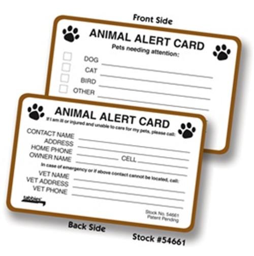 Animal Alert Card - 100/Box