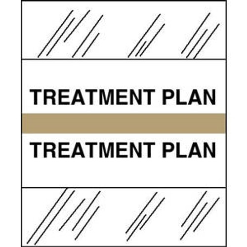 "Patient Chart Index Tabs/Labels - ""Treatment Plan"" -  Tan - 1/2"" H x 1-1/4"" W - 100/Pack"