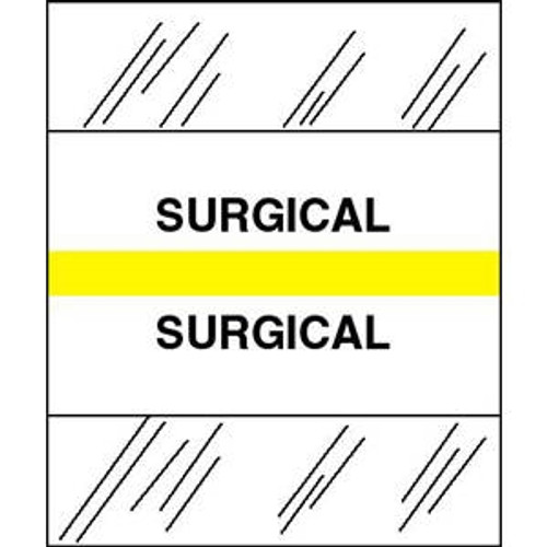"""Patient Chart Index Tabs/Labels - """"Surgical"""" -  Yellow - 1/2"""" H x 1-1/4"""" W - 100/Pack"""