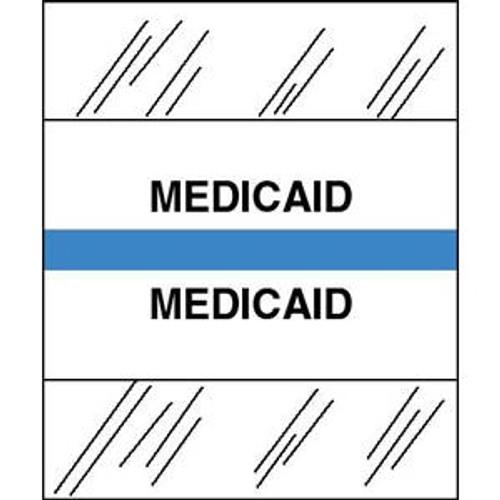 "Patient Chart Index Tabs/Labels - ""Medicaid"" -  Lt. Blue - 1/2"" H x 1-1/4"" W - 100/Pack"