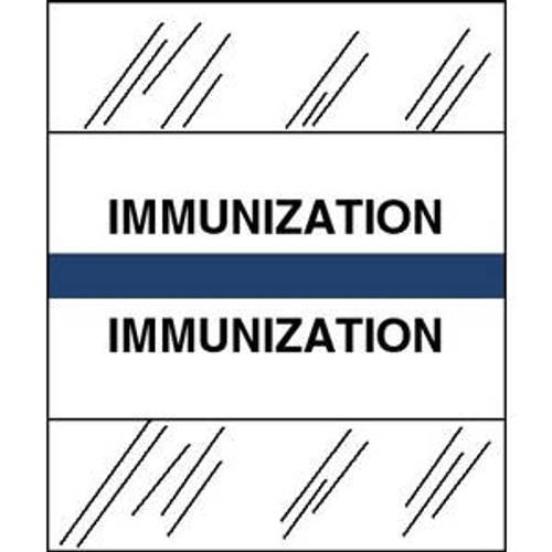 "Patient Chart Index Tabs/Labels -  ""Immunization"" - Dark Blue - 1/2"" H x 1-1/4"" W - 100/Pack"