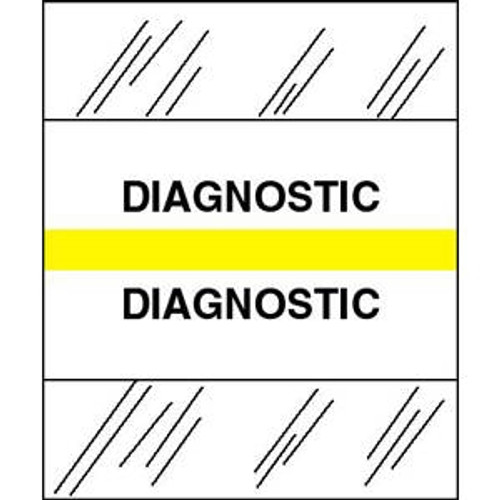 "Tabbies Patient Chart Index Tabs/Labels -  ""Diagnostic"" - Yellow - 1/2"" H x 1-1/4"" W - 100/Pack"