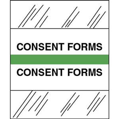 """Tabbies Patient Chart Index Tabs/Labels -- """"Consent Forms"""" -  Light Green - 1/2"""" H x 1-1/4"""" W - 100/Pack"""