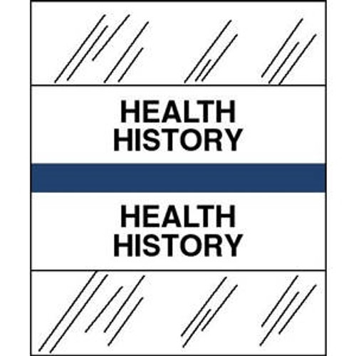 "Tabbies Patient Chart Index Tabs/Labels -  ""Health History"" Dark Blue - 1/2"" H x 1-1/4"" W - 100/Pack"