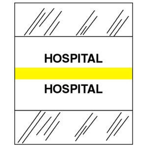 "Tabbies Patient Chart Index Tabs -  ""Hospital"" - Yellow - 1-1/4"" Tabs - 100/Package"