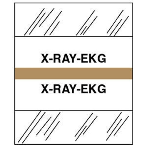 "Patient Chart Index Tabs/Labels - ""X-Ray-EKG"" - Tan - 1/2"" H x 1-1/4"" W - 100/Pack"